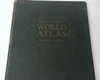 RARE Rand Mcnally World Atlas Premier Edition 1934 Book