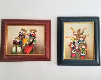 Two Original Joyce Roybal Oil Paintngs, musical instruments, flute, clarinet, cello, horn, framed artwork, 13.5 x 11.5 framed, red and blue