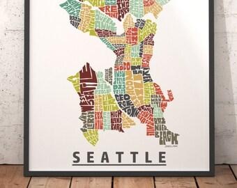 Seattle map art, Seattle art print, Seattle typography map, map of Seattle, Seattle neighborhood map with title