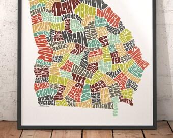 Georgia map art, Georgia art print, Georgia typography map, map of Georgia, Georgia cities city map, state of Georgia map