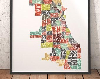 Art de carte de Chicago, impression d'art Chicago, Chicago carte de typographie, carte de Chicago, plan de quartier de Chicago, centre ville de Chicago, de choisir couleur et taille