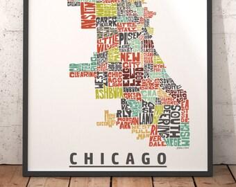 Art de carte de Chicago, impression d'art Chicago, Chicago carte de typographie, carte de Chicago, plan de quartier de Chicago, ville typographie carte avec titre