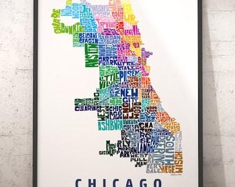 Plan de quartier de Chicago print, art de carte de Chicago, impression d'art Chicago, Chicago Carte typographie avec options de titre, plusieurs couleur et taille