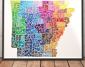 Arkansas art print, Arkansas map art, Arkansas typography map, map of Arkansas, Arkansas cities map art, choose color & size