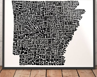 Arkansas typography map, Arkansas art print, map of Arkansas, Arkansas cities city map, Arkansas map art, state of Arkansas