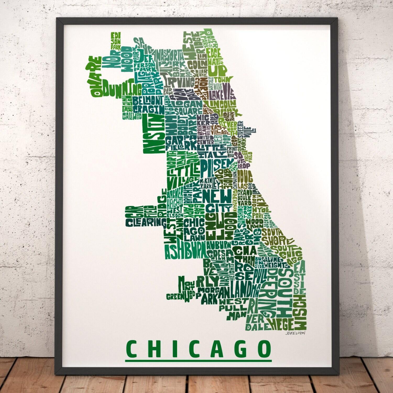 Chicago Neighborhood Map Print signed print of my original | Etsy on