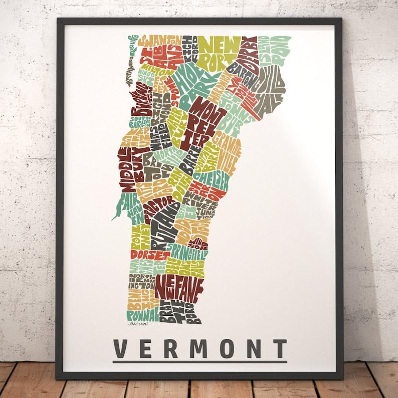 Vermont map art, Vermont art print, Vermont typography map, map of Vermont,  Vermont city cities map with title