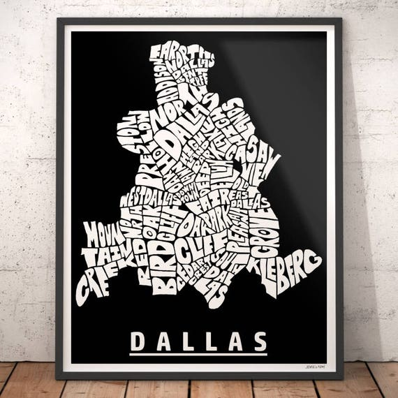 Dallas map art Dallas art print Dallas typography map | Etsy