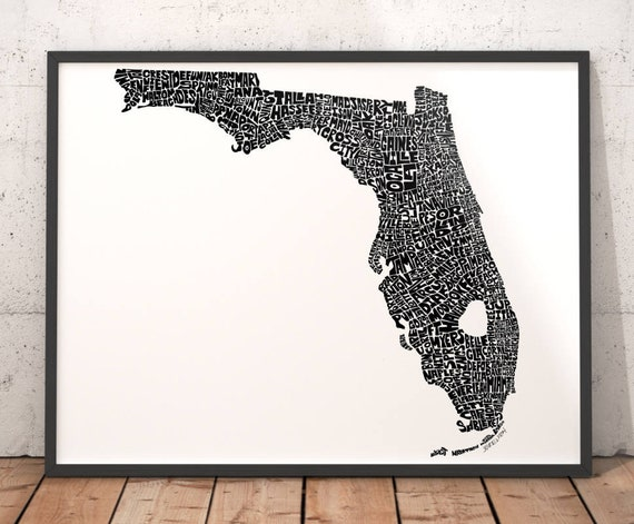 Print Map Of Florida.Florida Typography Map Florida Art Print Map Of Florida Etsy