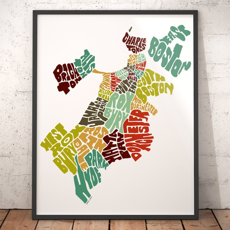 Boston Map Art Boston Art Print Boston Typography Map Map Etsy