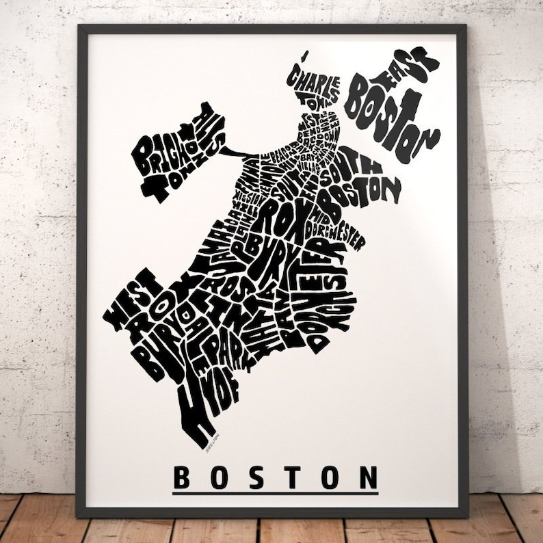 Boston Neighborhood Map Print Boston Map Art Boston Art Etsy