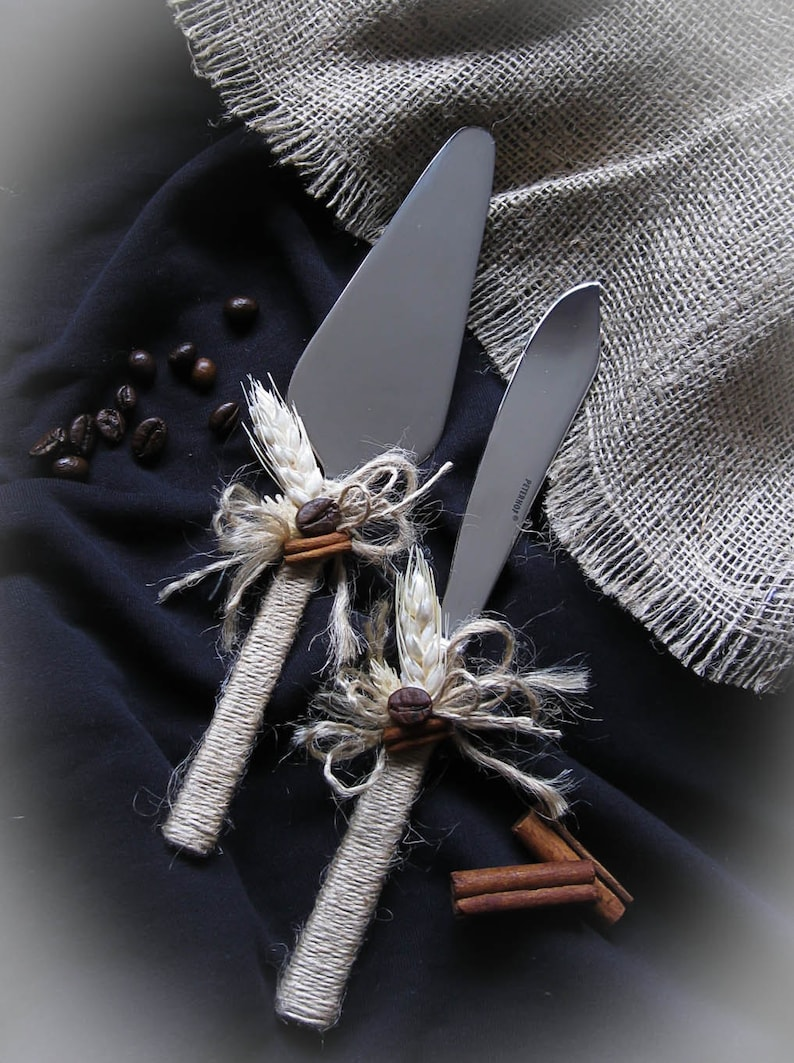Rustic Wedding Cake Knife Set With Coffee Beans Burlap And Etsy