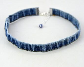 Denim Choker Distress Frayed Hem  Necklace One Size Chain Links Jeans Jewelry