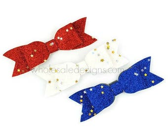 "Red White Blue Glitter Bows - 3.5"" Shimmery Bow with Long Tails - Single Loop DIY Bows Headband Hair Clip Silver and Gold Stars 3 Bows"