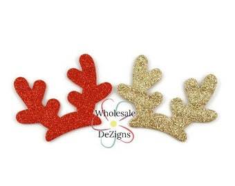 3137fd828eb3d Gold or Red Glitter Antlers Appliques - Deer Horns 3
