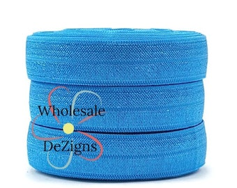 "Aegean Blue FOE - Fold Over Elastic - 5/8"" Solid Colored Foe -Ocean Blue DIY Headbands and Hair Ties - Baby Shower - Shiny Satin Elastic"