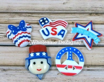 Fourth of July Resins - 5 Pieces - Flag, Star, Peace Sign, Minnie, Uncle Sam Cabochon - Red White Blue - Flat Back Acrylic DIY Embellishment