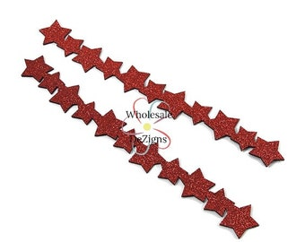 "Red Glitter Star Applique Stripe - Felt Back Embellishment 11"" - Headband Embellishments - DIY - 2 Strips"
