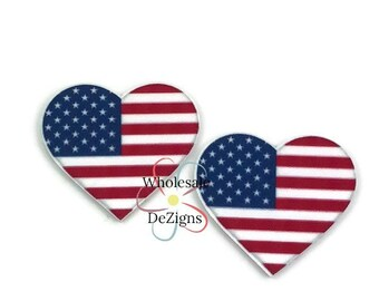 "Heart Shaped Flag Acrylic Resin - 1.75"" Flat Back Red White Blue Stars Stripes Applique Embellishment - Planar Resins - DIY Resin Supply"