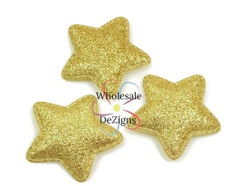 "Gold Glitter Stars - Padded Appliques - 1.75"" - Puffy Star Embellishments -Fabric Back - DIY Headband Hair Supplies"
