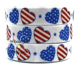 "Red White and Blue Hearts FOE - Fourth of July Fold Over Elastic 5/8"" Foe Headbands DIY Hair Ties Headbands 4th of July Heart Flag"