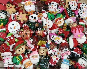 Grab Bag Christmas Themed Resins - Winter Cabochons Decoden Resins Charms for Slime Plastic Santa Rudolf Charms Xmas Resins Holiday Crafts