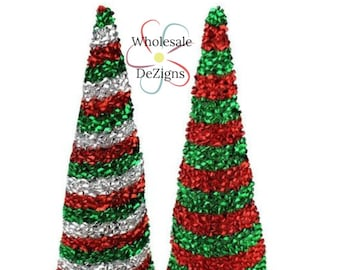 Christmas Striped Unicorn Horn Padded Horns Red Green and Silver Tinsel Appliques DIY Party Supplies Birthday Costume Supply 5""