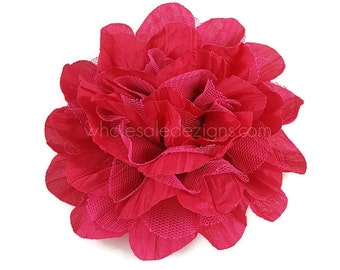 Shocking pink flower etsy sale 2 hot pink chiffon and tulle flower 45 crinkle flowers mightylinksfo