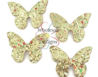 Gold Glitter Butterflies Felt Appliques Butterfly Felt Fabric Back 1.5
