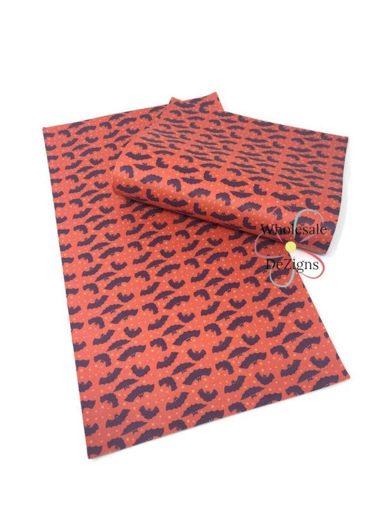 Halloween Bats Faux Leather Sheet Printed Bats on Orange image 0