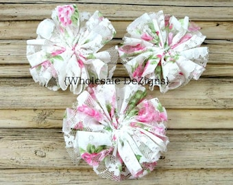 """White Rose Lace Flower - 3"""" Twirl Ballerina Flower Supply - Twirling DIY Headband Flower - White, Pink, Green - Floral - 3 inches"""