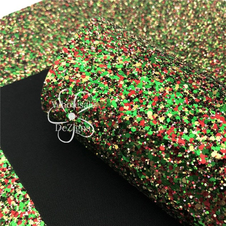 Christmas Glittery Faux Leather Sheet Synthetic Sheets Red image 0