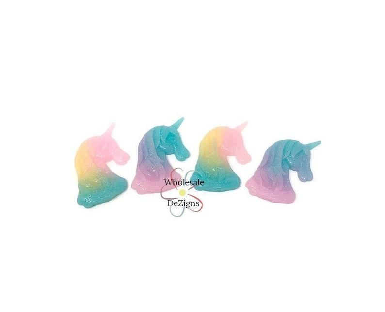 Large Glitter Unicorn Heads  Acrylic Pastel Rainbow 2.5 image 0