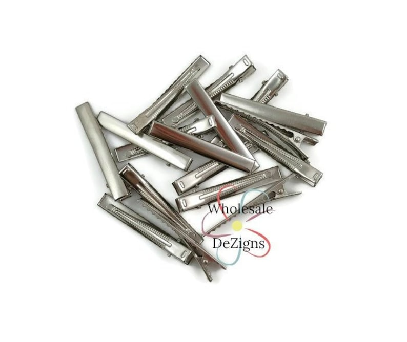 "50 Double Prong 1-3//4/"" Alligator Hair Clips for making Bows Flower Korker Clips"