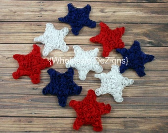 """SALE Mini Chiffon Star Rosettes - Red White and Blue - Fourth of July Stars - 2"""" - 2.5"""" DIY"""