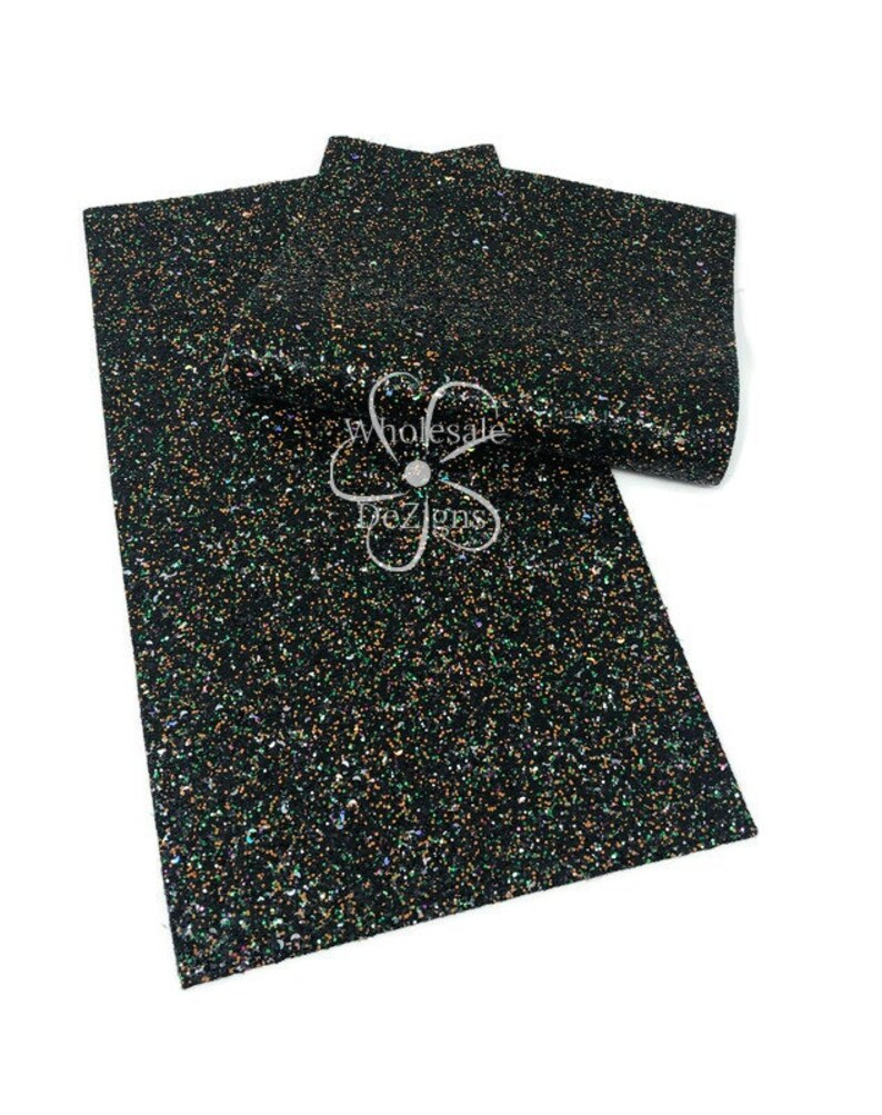 Halloween Glitter Faux Leather Sheet Synthetic Sheets Black image 0