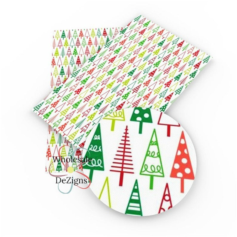 Christmas Tree Faux Leather Sheet Printed Xmas Red Green image 0