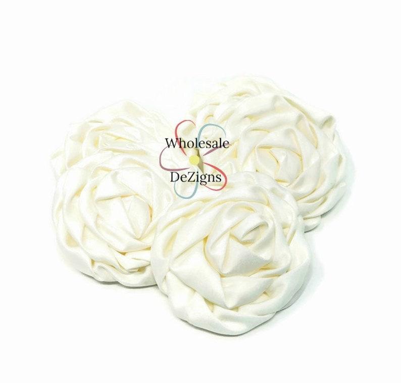 Ivory Satin Rolled Rosette Flowers DIY Silk Rosettes Wedding image 0