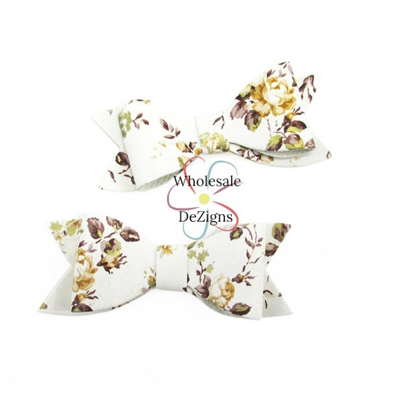 Brown & Gold Metallic Floral Print Bows  Faux Leather Tails image 0