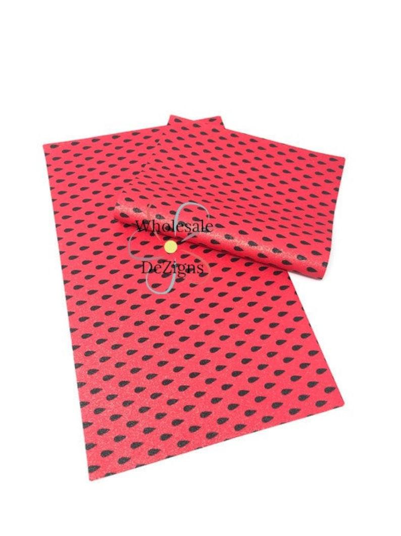 Fine Glitter Watermelon Seed Faux Leather Sheet Summer Fruit image 0