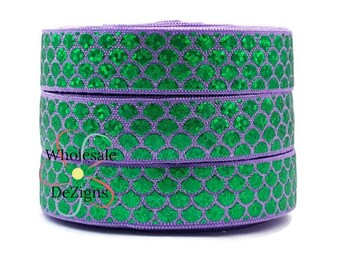 "Lavender and Green Mermaid Elastic Holographic Laser FOE Fold Over Elastic 5/8"" Scales Hologram Metallic Foil Print Headbands Hair Ties"