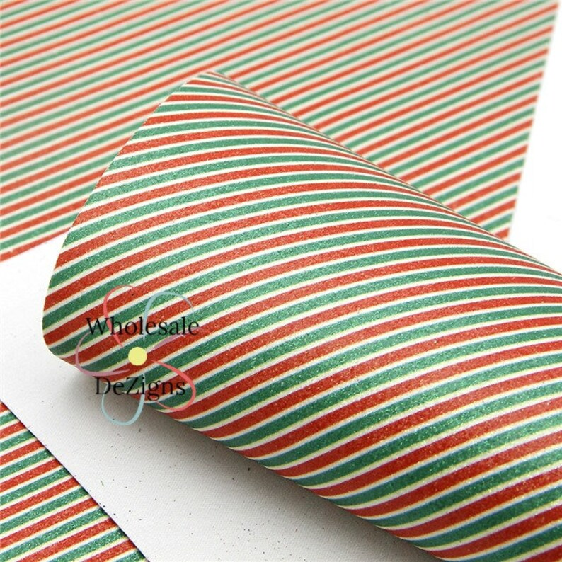 Glittery Red and Green Striped Christmas Faux Leather Sheet image 0