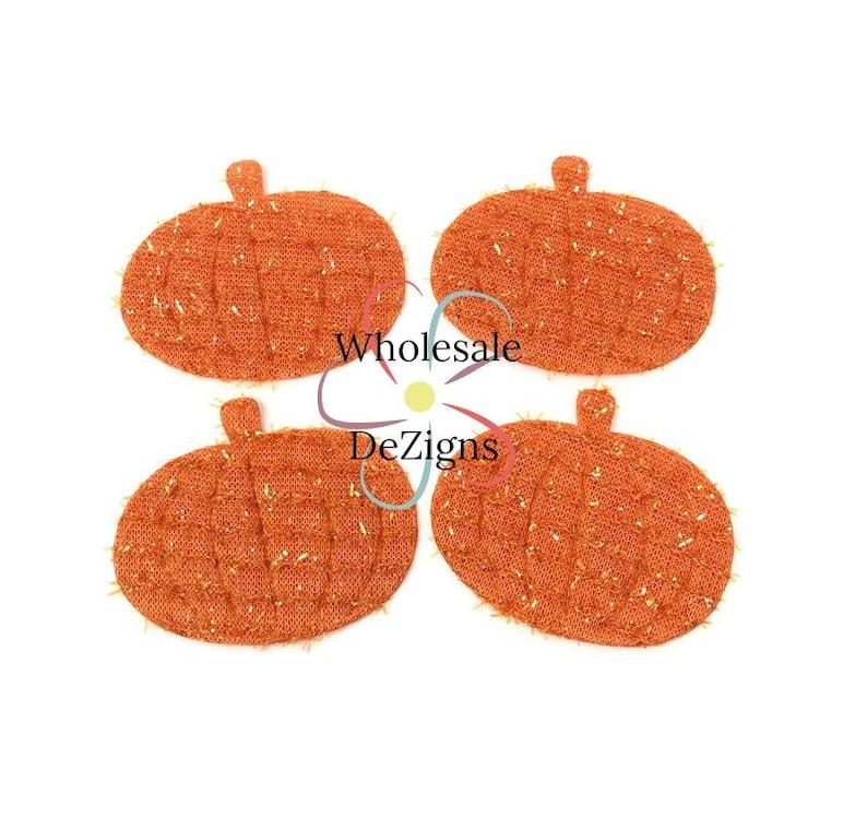 Orange Pumpkin Felt Applique with Tinsel Tee Shirt Clothing image 0