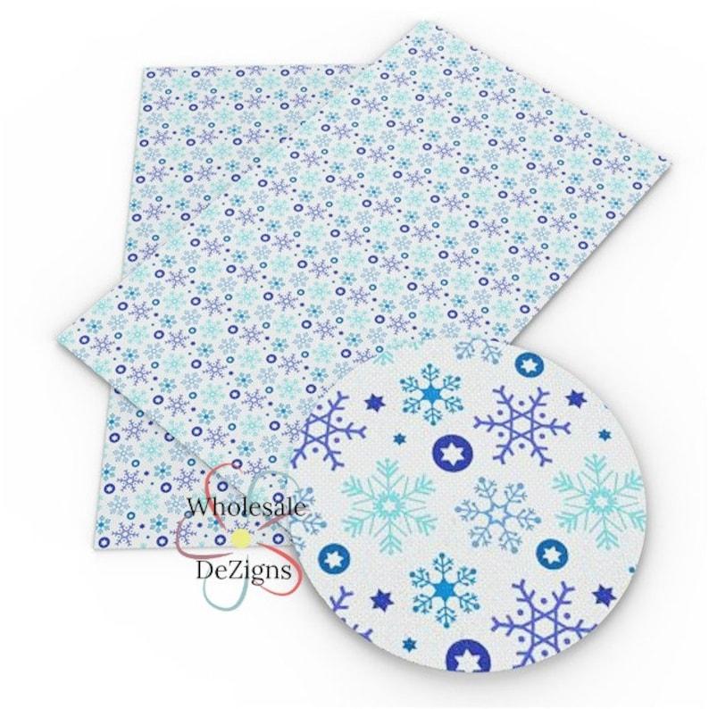 Blue Snowflake Faux Leather Sheet Printed Blue Aqua White image 0