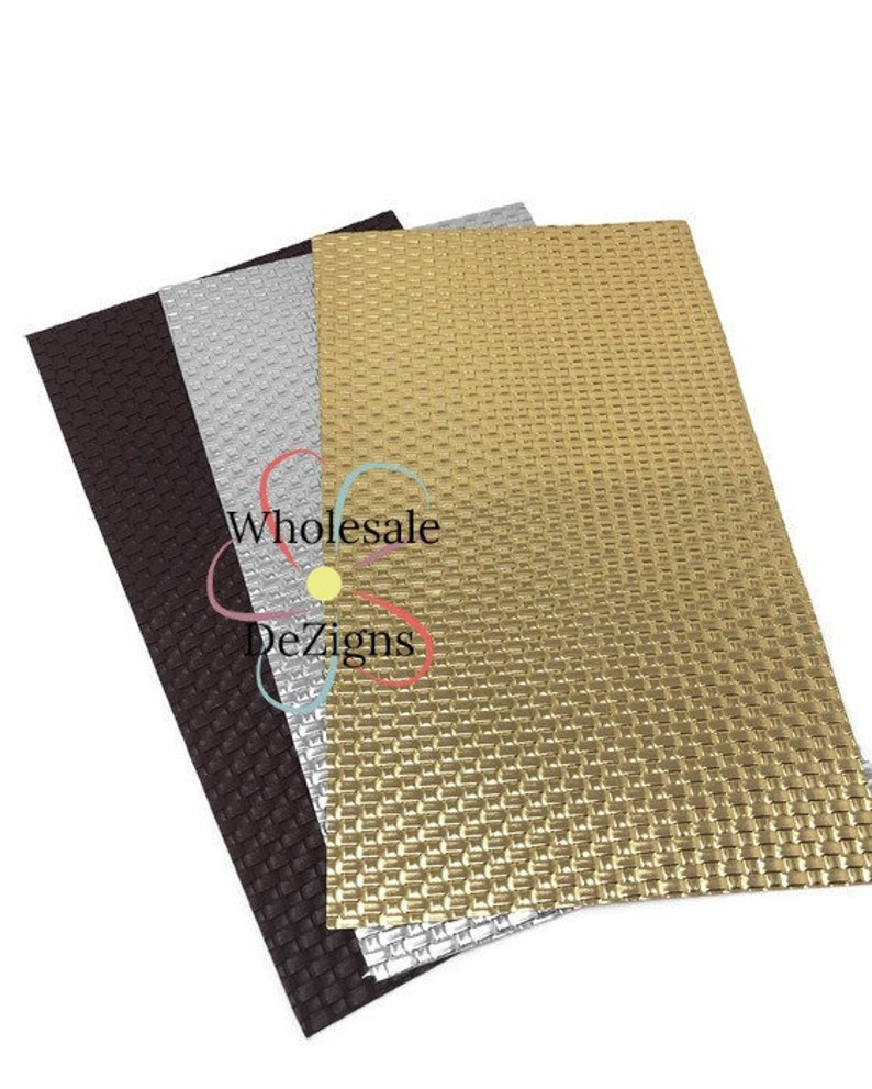 Weaved Faux Leather Sheet Textured Synthetic Vinyl Sheets image 0