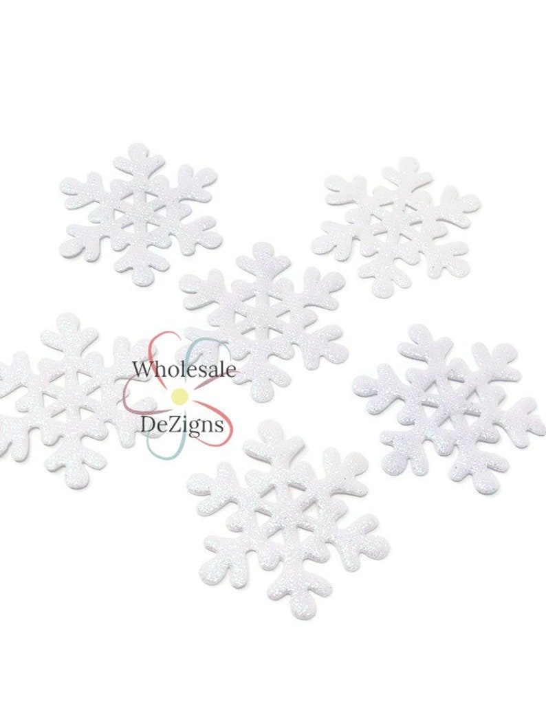 White Glitter Snowflake Appliques Iridescent Padded Fabric image 0