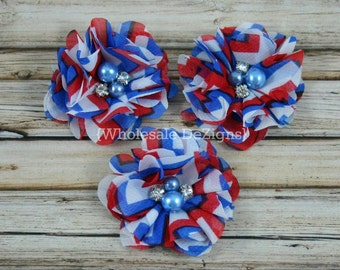 "Fourth of July Chiffon Layered Flower - Rhinestone & Pearl Center - Chevron Red, White, and Blue 2"" DIY Headband Hair Clip 4th of July"