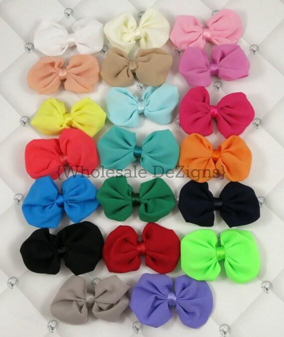 """3 pieces White 2/"""" shabby chiffon bow DIY headbands"""