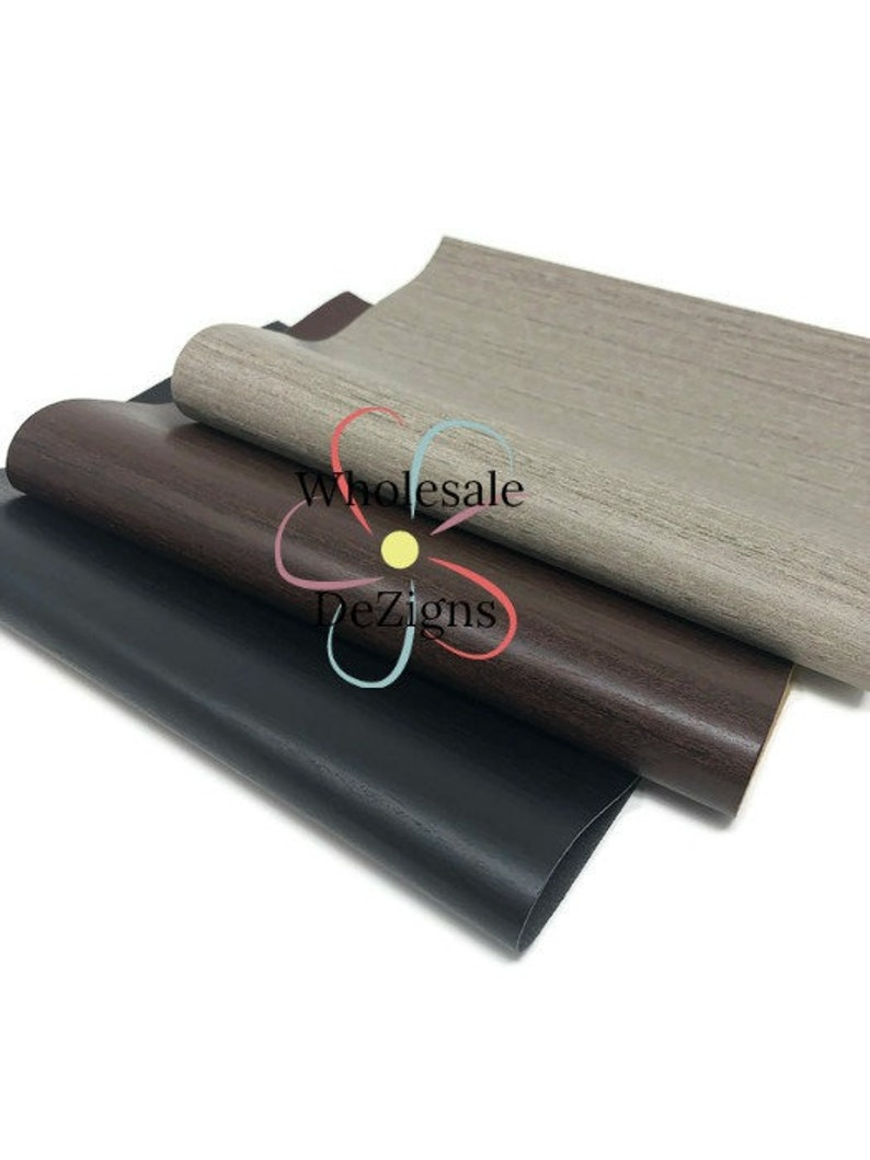 Faux Wood Leather Sheet Smooth Black Brown & Grey Synthetic image 0