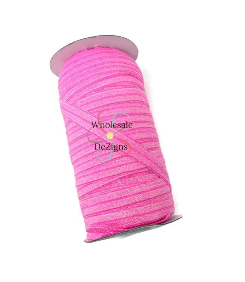 Bright Pink Glitter Sparkle FOE  Fold Over Elastic  image 0